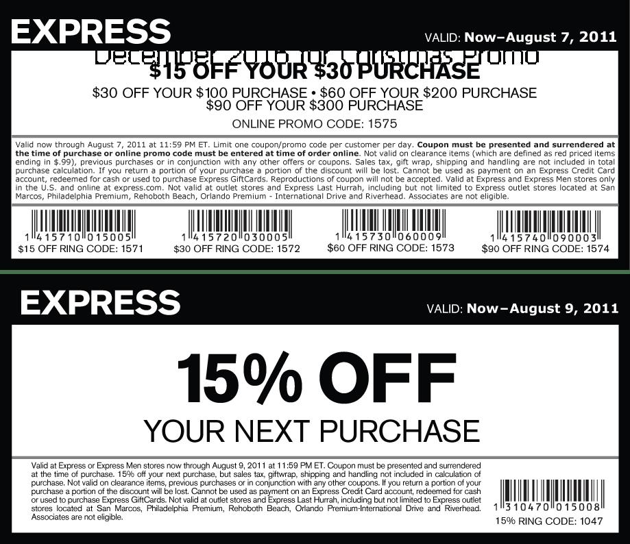 Express coupons december 2019