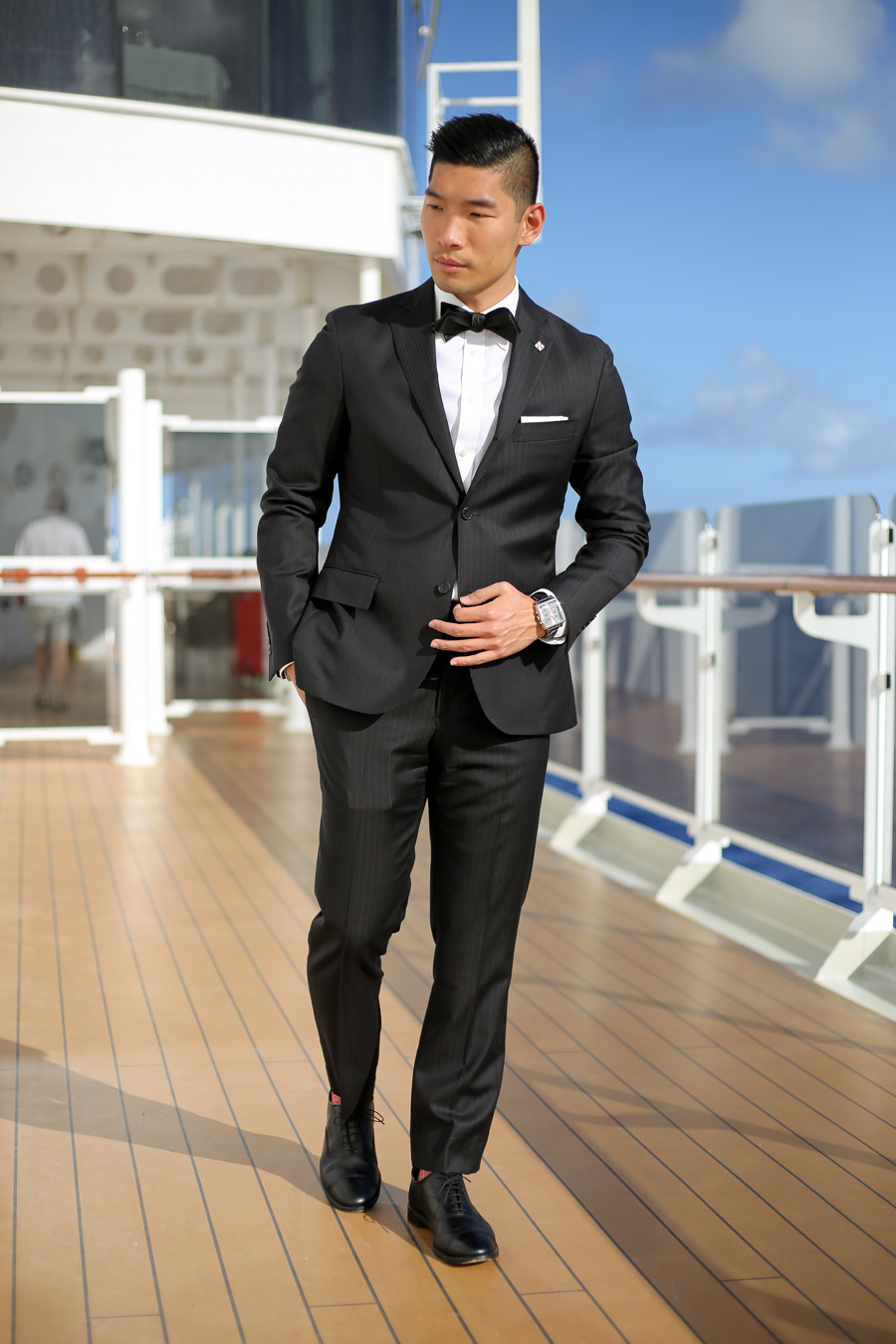 Menswear, Masquerade, Todd Snyder Suit, Allen Edmonds, Hugo Boss, Ball, Leo Chan, Cunard Cruise, Alicia Mara