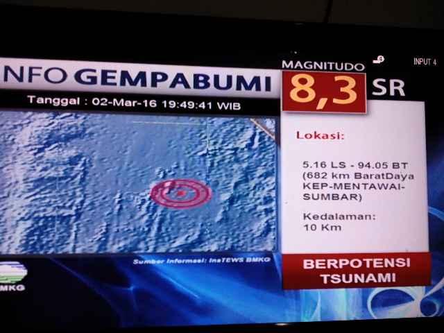 gempa sumbar hari ini kepulauan mentawai