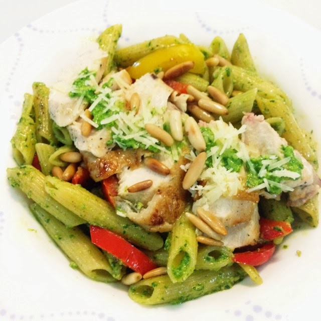 Barbecue Pork And Penne Skillet Recipe: Wen's Delight: Penne In Spinach Basil Pesto Sauce With