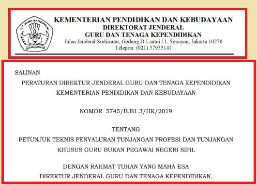 gambar Juknis TPG dan Tunjangan Khusus Bagi Guru Bukan PNS Tahun 2019