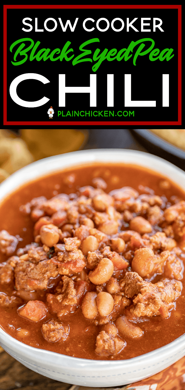 Black Eyed Pea Chili - seriously delicious!! So simple and it tastes great! All you need is come cornbread and dinner is done! Ground beef, sausage, onion, garlic, tomato paste, diced tomatoes, Rotel, beef broth, cumin, chili powder, paprika, red pepper and black eyed peas. Great for potlucks and parties. Leftovers are good on top of a baked potato! YUM! #chili #slowcooker #soup