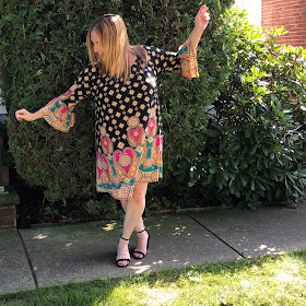 Gozon, Gozon Chloe Paisley Swing Dress, Gozon Serenity Stripe Dolman Top, fashion, OOTD, affordable fashion, Jamie Allison Sanders