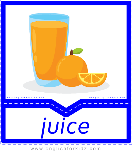 Juice - English food and drinks flashcards for ESL students
