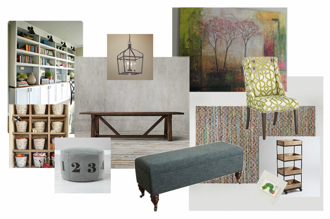 A dining play room painted over wallpaper blues one room challenge week 2 knock it off kim - Dining room play ...