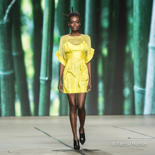Yellow cocktail dress at Tony Cohen's fashion show at Amsterdam Fashion Week