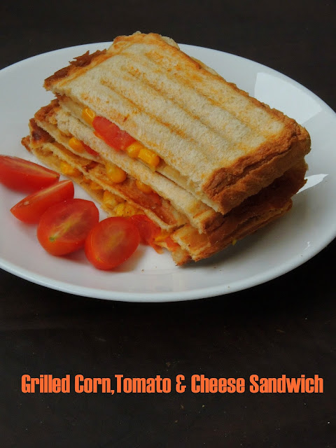 Grilled corn,cheese & tomato sandwich, Grilled vegetable & cheese sandwich