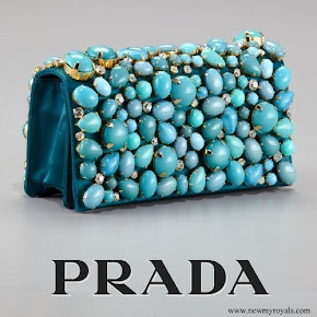 Crown Princess mary carried Prada Raso Pietre Clutch in Turchese