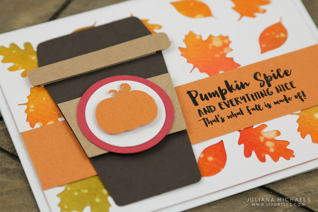 Pumpkin Spice Coffee Card with Watercolor Distress Ink Die Cut Background by Juliana Michaels