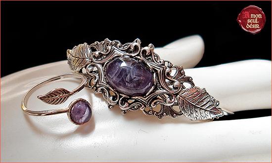 parure bijoux elfique féerique argent améthyste violet