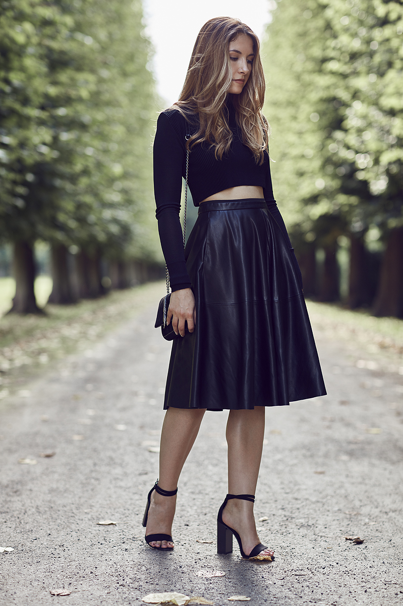 Zara Crop Top Leather Leder Skirt Rock
