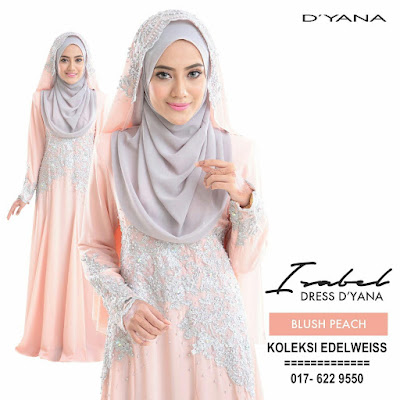 ISABEL 6 DRESS PENGANTIN MUSLIMAH BLUSH PEACH