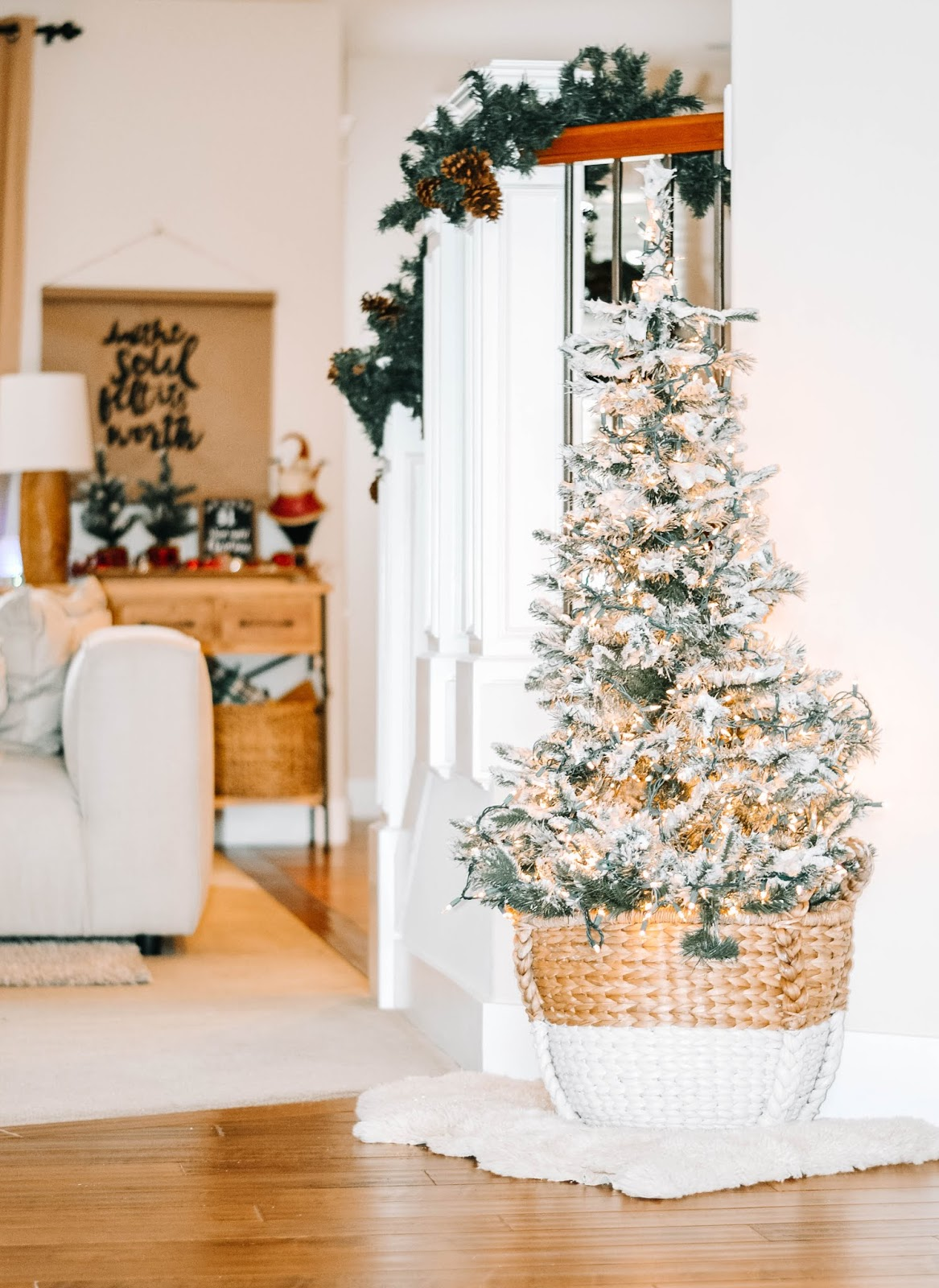 shaving cream flocked christmas tree