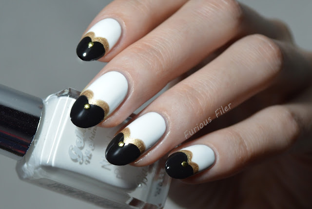 heart shape tips monochrome studs nail art
