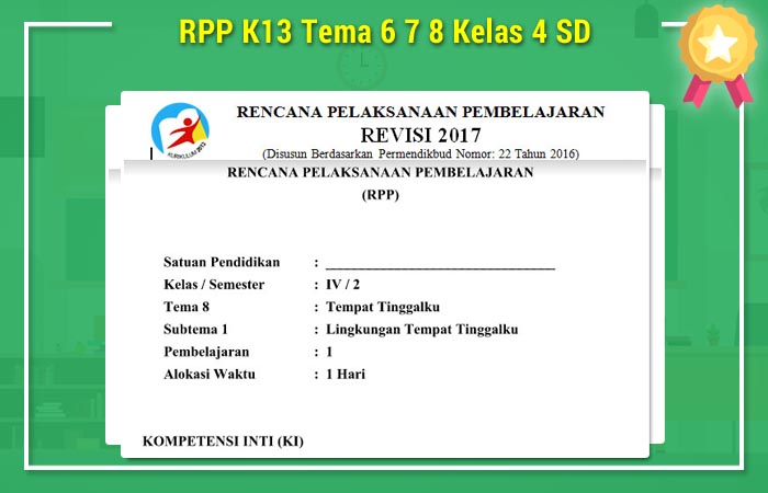 RPP K13 Tema 6 7 8 Kelas 4 SD