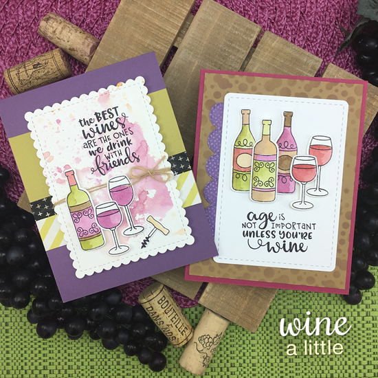 Wine cards by Jennifer Jackson | Wine a Little Stamp Set by Newton's Nook Designs #newtonsnook #handmade #winestamps