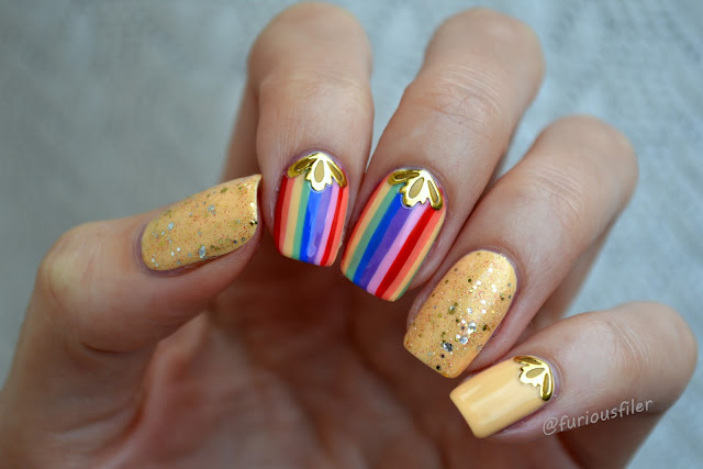 colourful stripes rainbow 3d stickers glitter nails