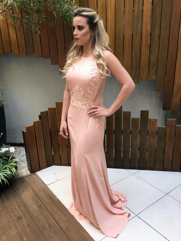 vestido de festa longo rosa claro  madrinha ou formanda