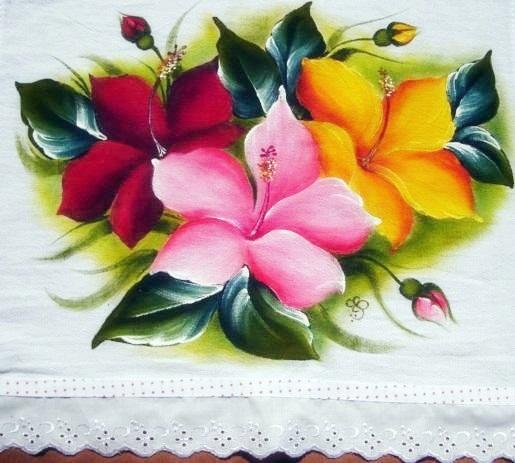 pintura em tecido hibiscos