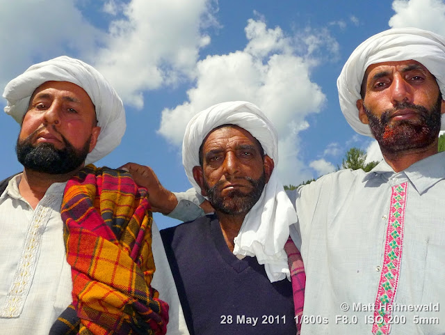 Facing the World, © Matt Hahnewald, close up, groupshot, street portrait; Northern India; Kashmir; Bhadarwah, Jai Green Valley, Kashmiri men; beard; turban; triple portrait; Muslim people;