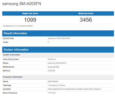 Samsung Galaxy A20 (SM-A205FN) with Exynos 7885, 3GB RAM Leaked