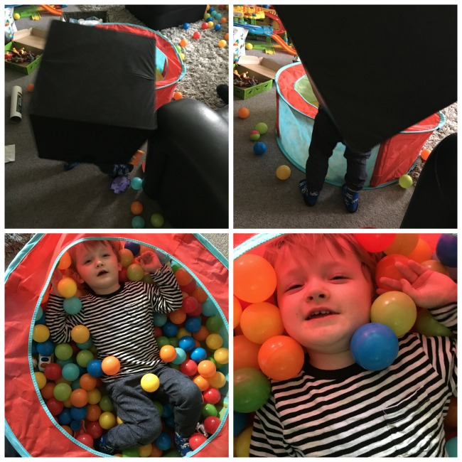 Our-Weekly-Journal-6th-Mar-2017-toddler-in-ball-pit-and-with-box-on-his-head