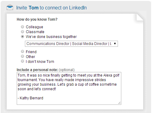 customize LinkedIn invitation