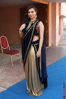 Priyanka Ramana in Beautiful Designer Black Saree At We Craft Elegance Expo Launch 065.JPG