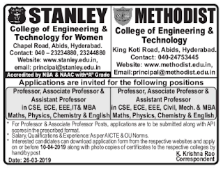 Stanley College of Engineering and Technology for Women, Hyderabad Recruitment 2019 Professor/Associate Professor/Assistant Professor