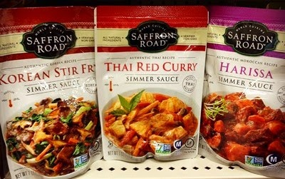 Vegan Vegetarian Food Groceries Options at Target Saffron Road Korean Stir Fry, Thai Red Curry, and Harissa Sauce Non GMO project verified