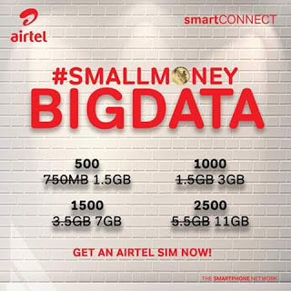 See Cheapest Airtel Data Plans in 2018 - SmartCONNECT 1.5GB for N500, 3GB for N1000 and 11GB for N2500