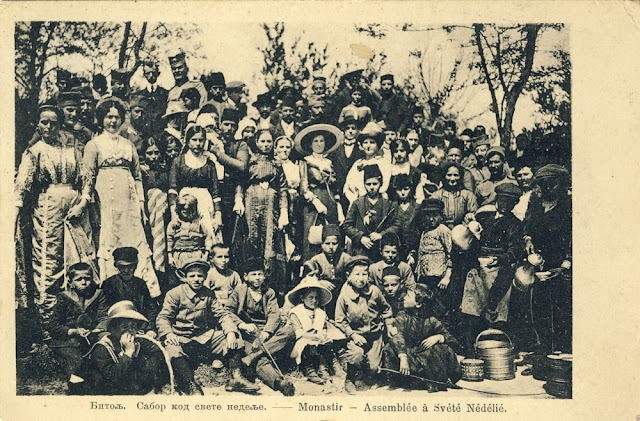 Bitola - Gathering at the church Holy Sunday (Св. Недела) during Easter - Serbian postcard - Balkan Wars