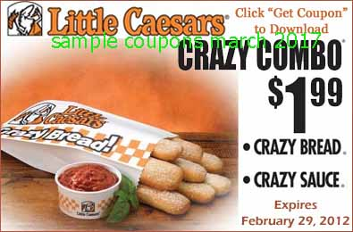 picture about Little Caesars Printable Coupons known as Small caesars discount coupons free of charge insane bread 2019