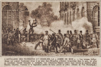 Artilleriegevechten met vooraan Jean-Joseph Charlier (1794-1886), die over een enorme buitengewone wilskracht beschikte en de bediener was van het ijzeren kanon.