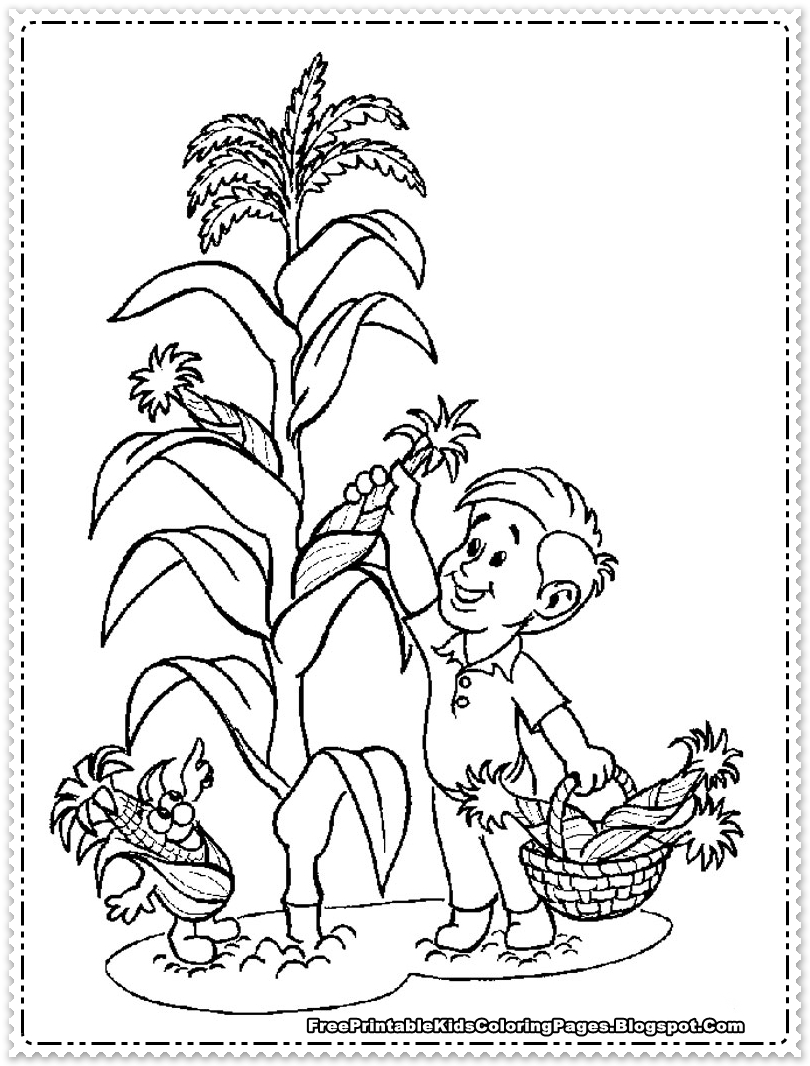 Kids Picking Corn For Thanksgiving Coloring Pages
