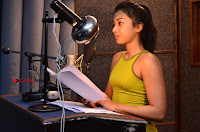 Actress Catherine Tresa Pos during Self Dubbing for Gautham Nanda Movie  0048.JPG