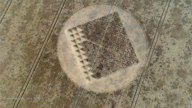 Jane Barford filmed an intriguing and somewhat mysterious new crop circle from the air