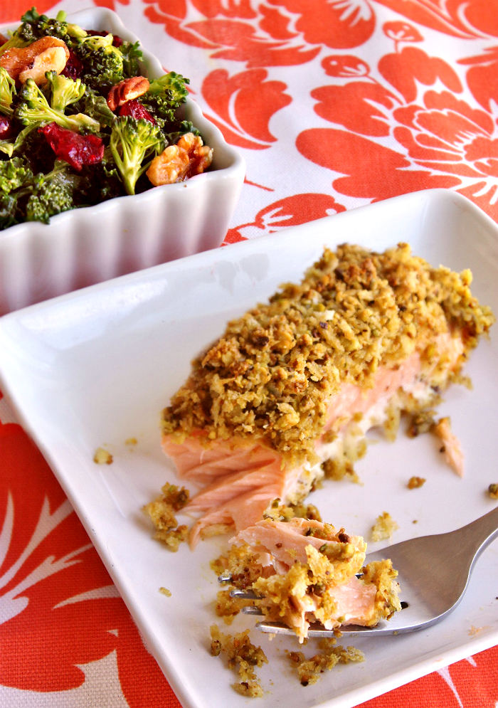 Pistachio Crusted Salmon and Broccoli Kale Superfood Salad- Explore the superfoods of the month, broccoli and salmon along with some healthy living tips from #SamsClubMag (AD)