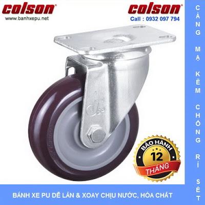 Bánh xe đẩy hàng PU 100 - 4 inch chịu tải trọng 122kg | S2-4256-95P www.banhxedayhang.net