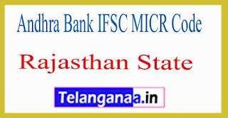 Andhra Bank IFSC MICR Code Rajasthan State