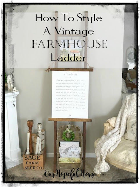 farmhouse living room vintage ladder rustic decor