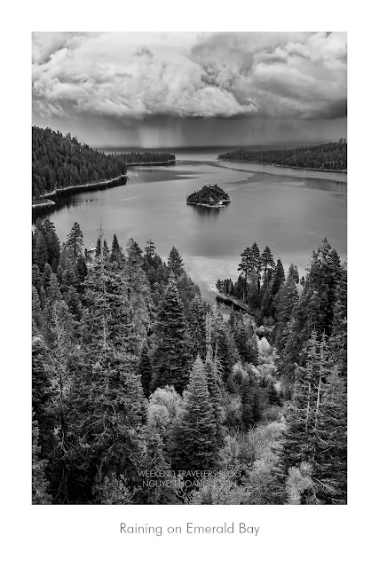 Raining in Emerald Bay South Lake Tahoe California in Black & White