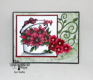 Our Daily Bread Designs Stamp: Poinsettia Box, Paper Collection: Christmas 2018,  Custom Dies: Fancy Foliage, Bitty Blossoms, Double Stitched Squares, Holiday Words