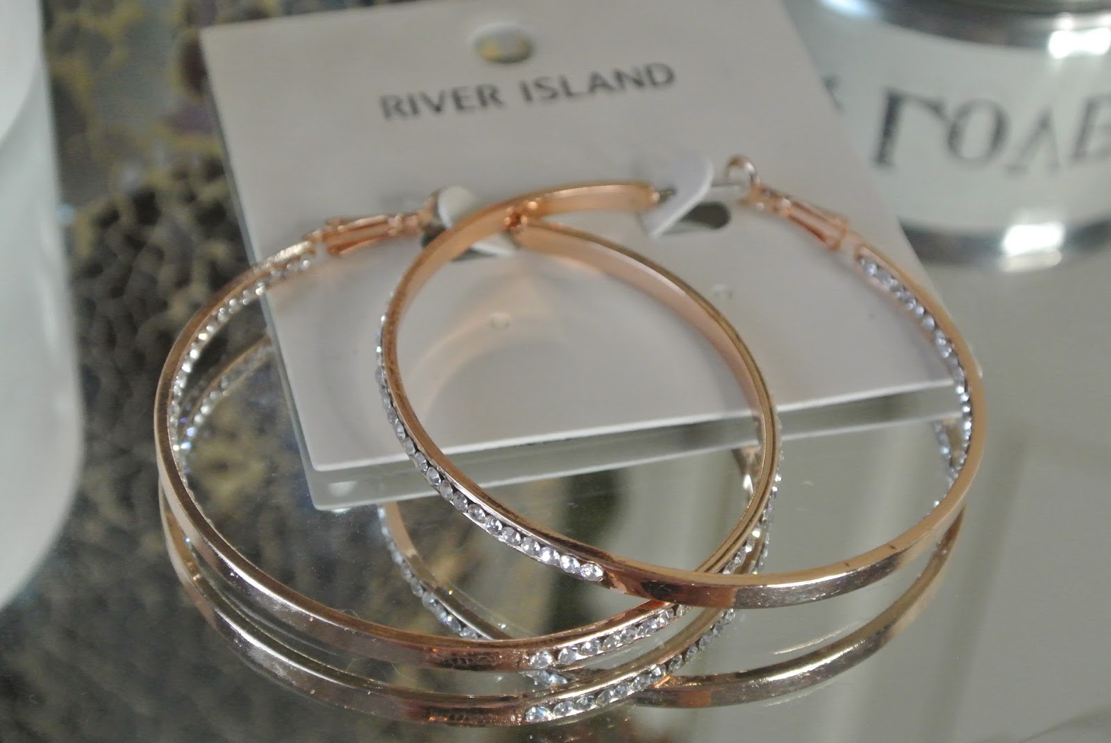 rose gold jewel encrusted hoops Image