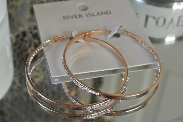 rose gold jewel encrusted hoops Image