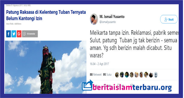 Jubir HTI: Patung di Tuban Tak Berizin Boleh, Yang Sudah Berizin Malah Dicabut, Situ Waras?