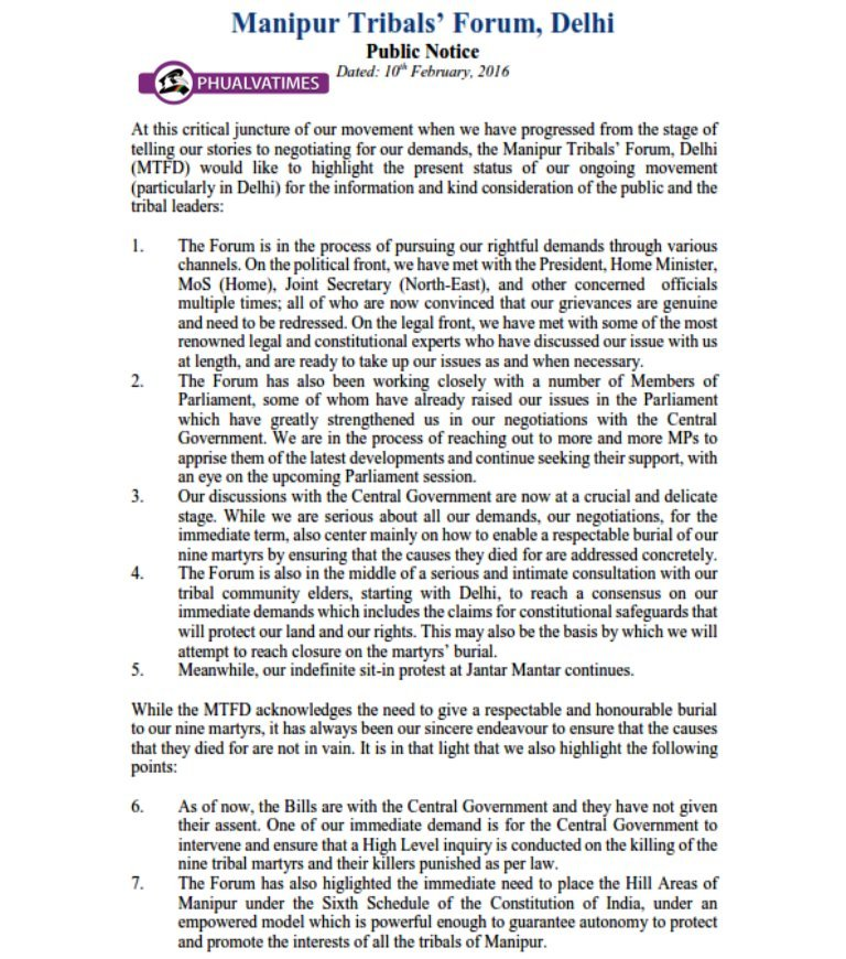 Public Notice: Manipur Tribals' Forum Delhi