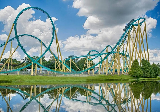 Estrutura da montanha-russa Kraken no SeaWorld Orlando