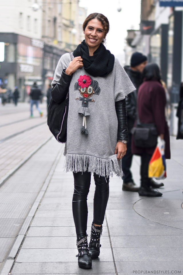 What to wear when temperatures dip close to sub-zero - few stylish street fashion inspiration to inspire your daily outfits. Anja Kurilić, pončo Jolie Petite by Ljupka Gojić
