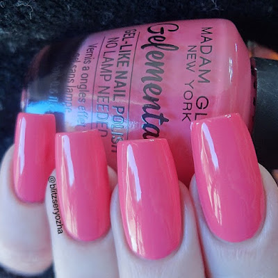"A swatch photo showing two coats of Madam Glam ""Haters Gonna Hate,"" a hot pink creme polish"